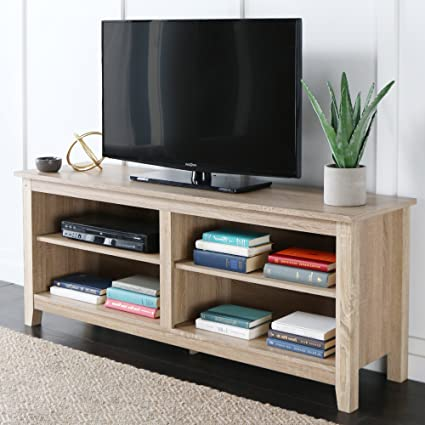 Amazon Com We Furniture 58 Wood Tv Stand Storage Console Natural