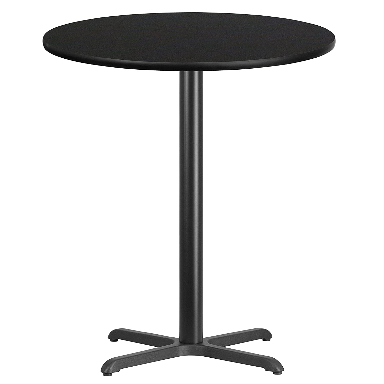 Flash Furniture 36 Round Black Laminate Table Top with 30 x 30 Bar Height Table Base