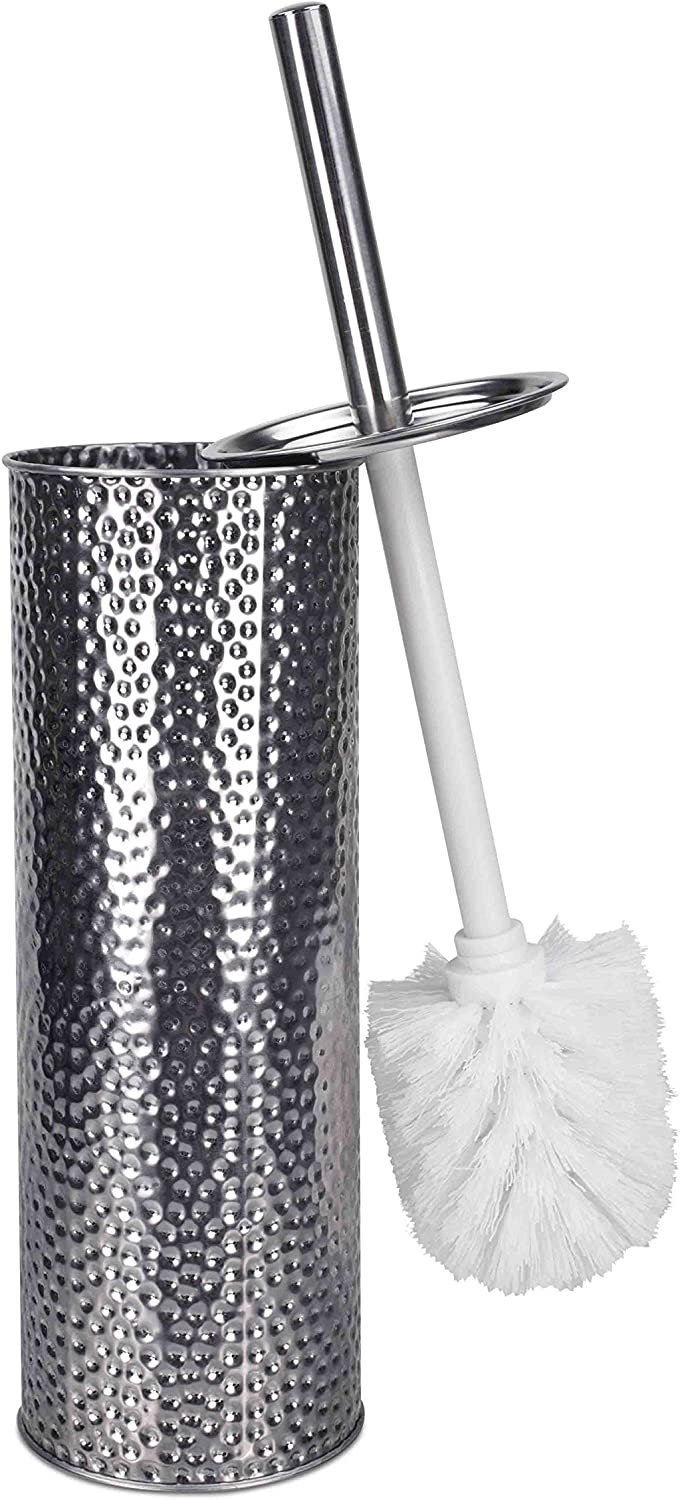 Home Basics Hammered Stainless Steel Toilet Brush with Holder
