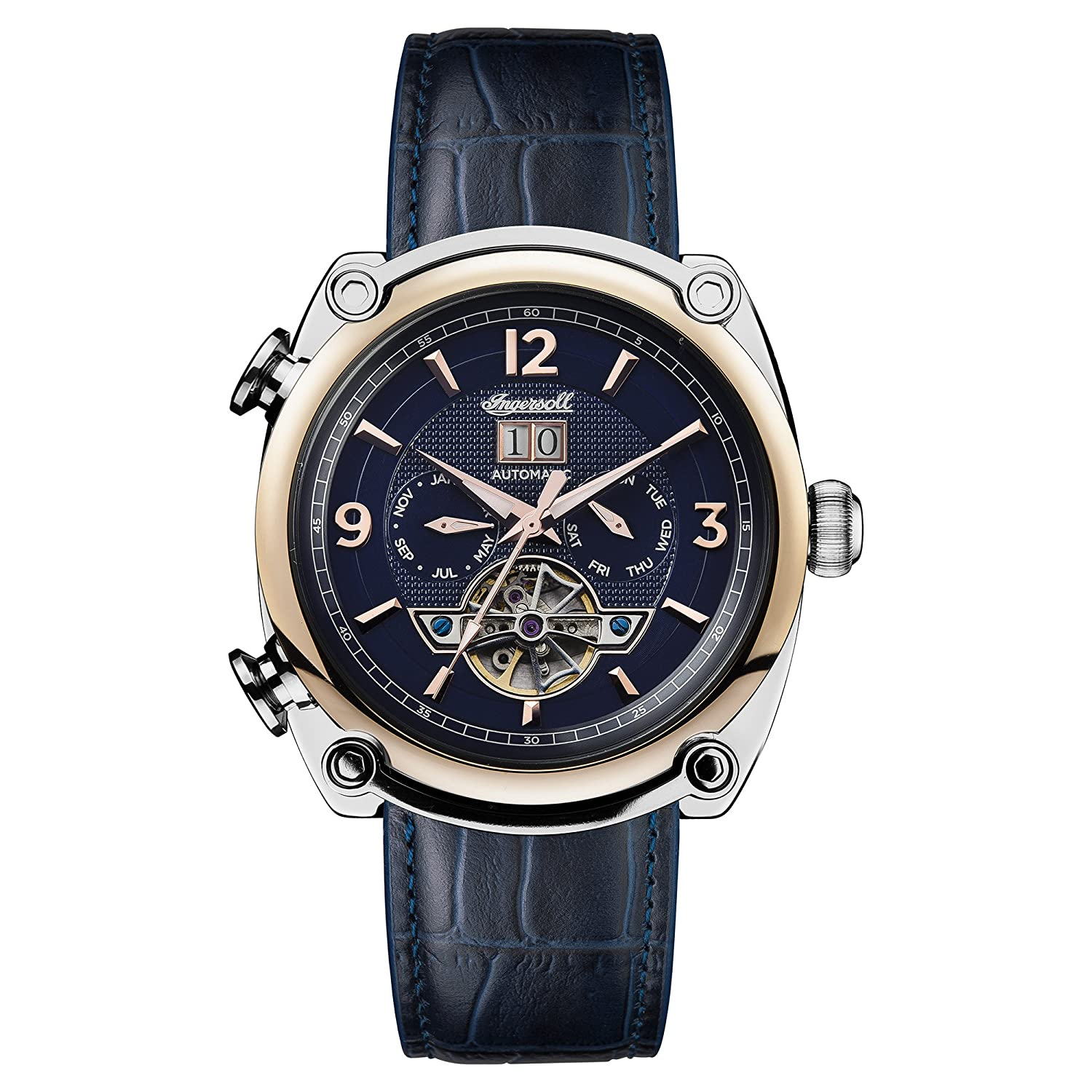 Amazon.com: Ingersoll Men's Automatic Stainless Steel and Leather Casual  Watch, Color:Blue (Model: I01101): Ingersoll: Watches