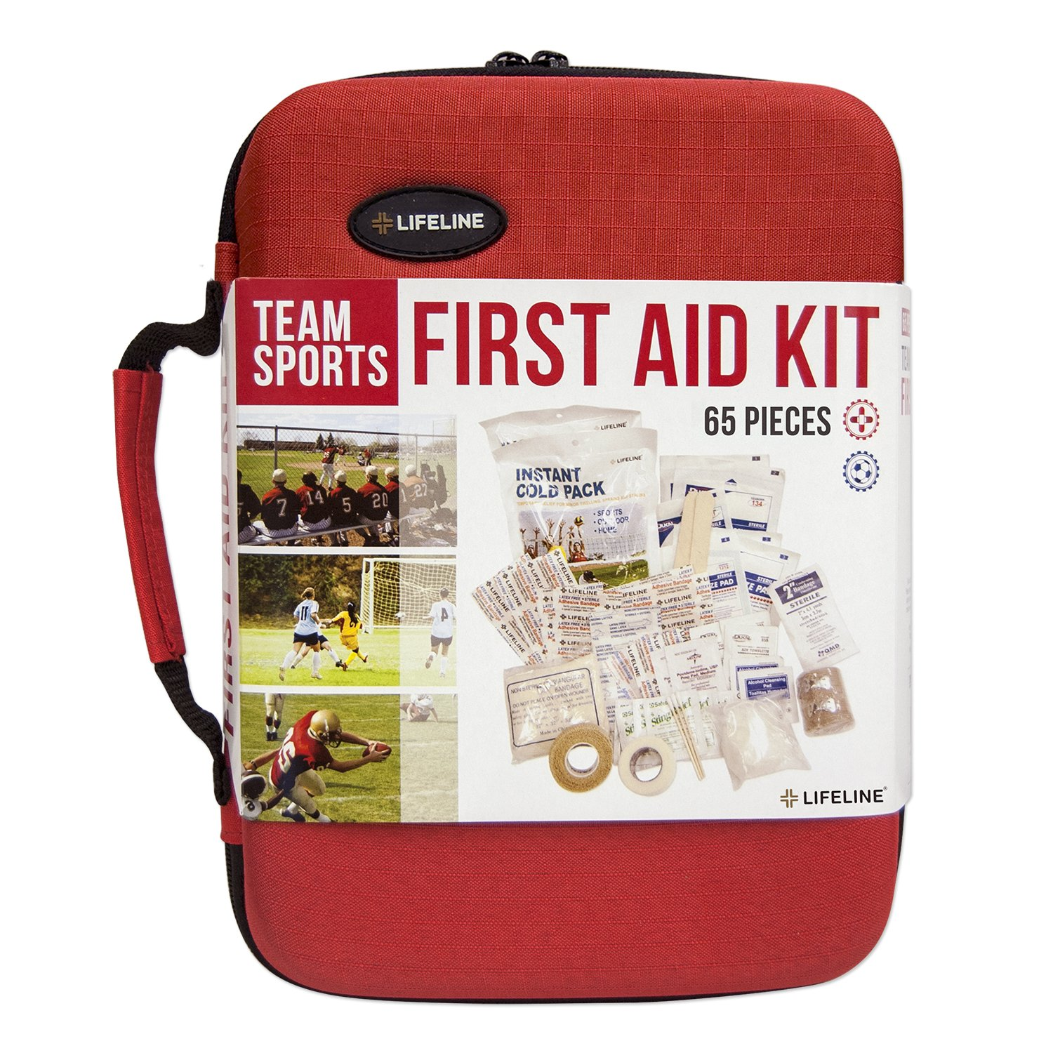 Lifeline Team Sport Trainer First Aid and Safety Kit, Stocked with essential first aid components for emergencies resulting from outdoor and team sports activities