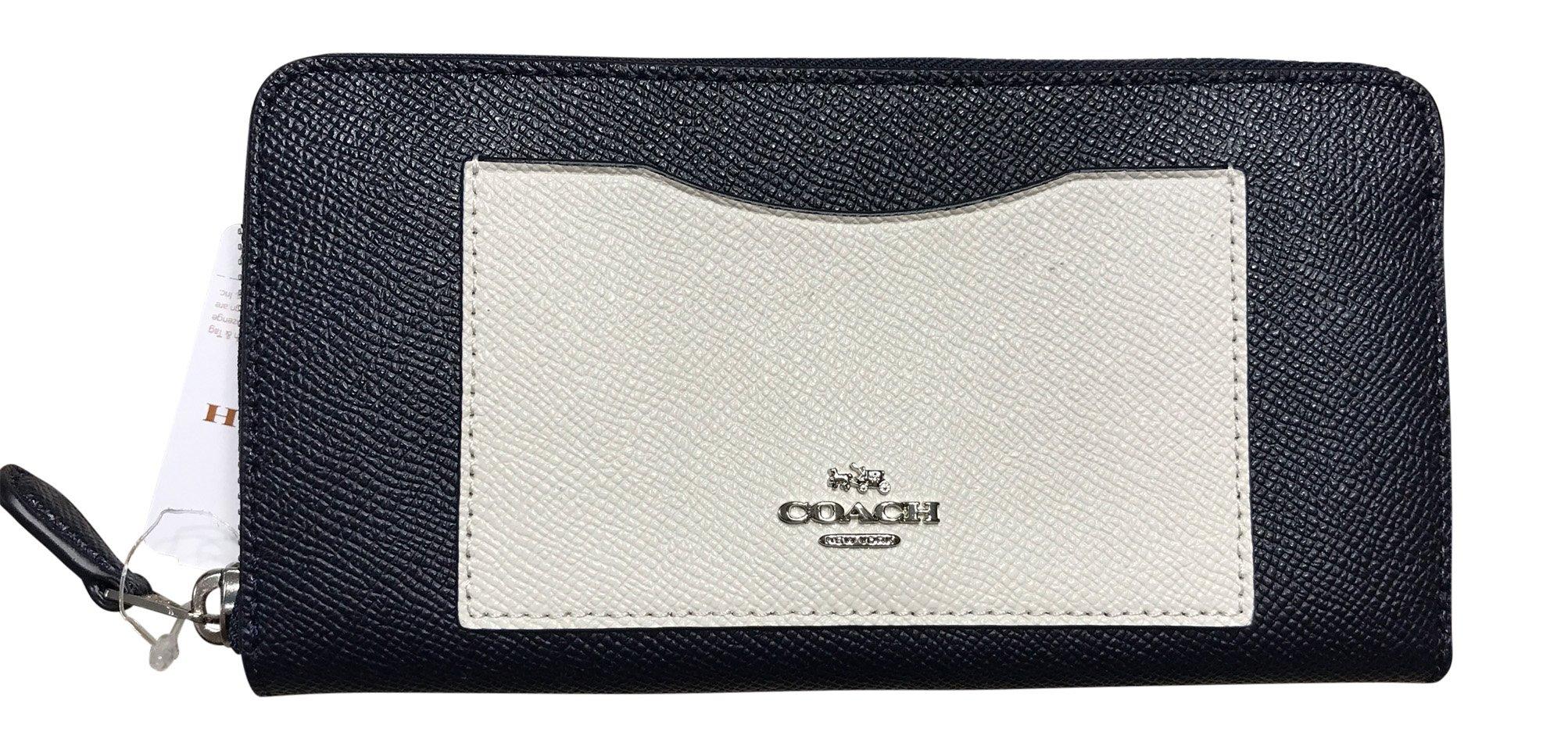 Coach Crossgrain Leather Accordian Zip Wallet, Silver, Midnight, Chalk