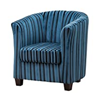 Brand New Francois Striped Fabric Tub Chair/Armchair Seating - 4 Colours Available