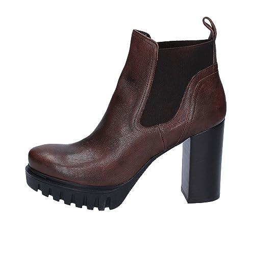 40c1b1cfc93 ROBERTO BOTTICELLI Botines Mujer Cuero marrón  Amazon.es  Zapatos y  complementos