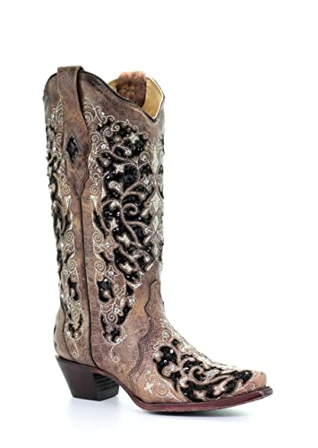 181c133a7225 Corral Women's Black Inlay Floral Embroidery Studs Leather Cowgirl Boots -  Brown ... (