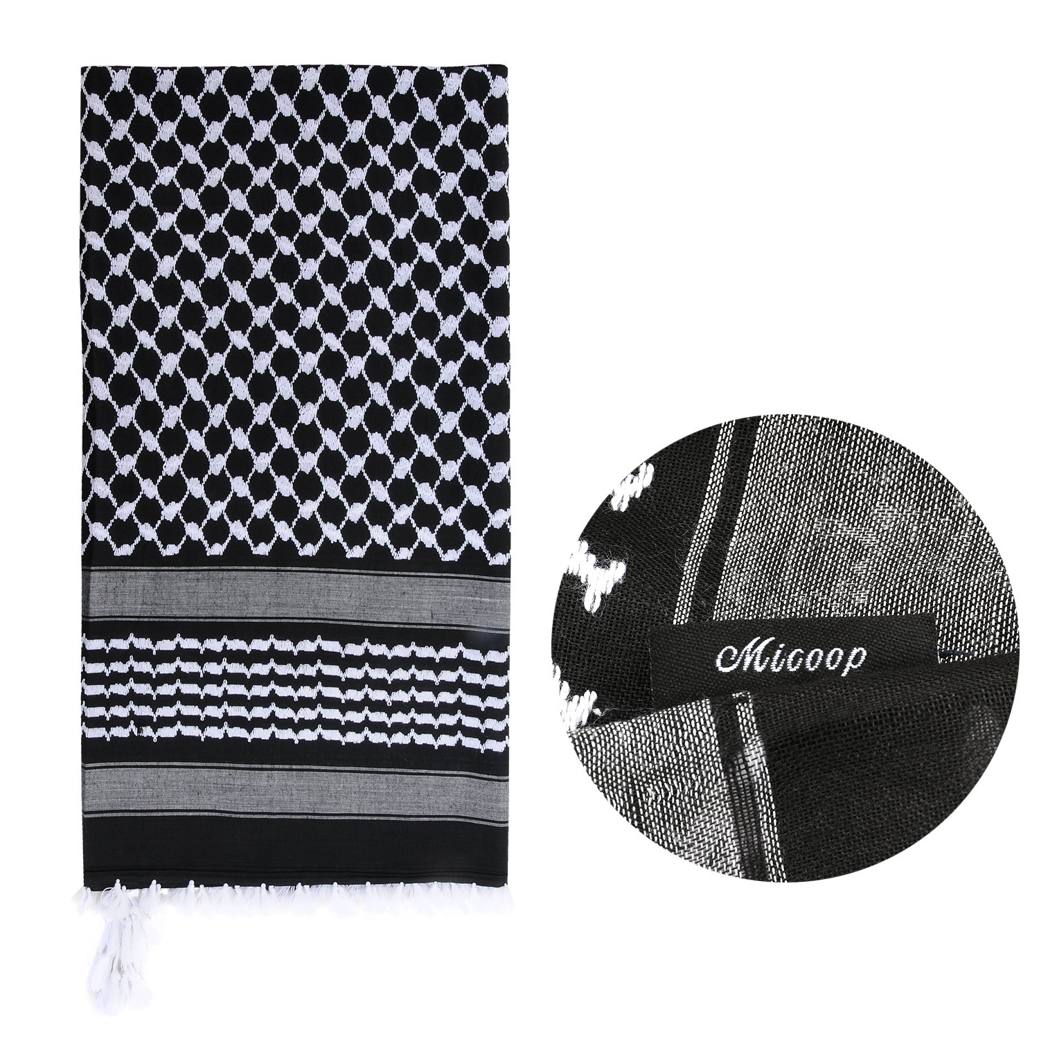 Micoop Large Size Premium Shemagh Scarf Arab Military Tactical Desert Scarf Wrap with Fine Tassels, 2-Pack (White Black & Black White) by Micoop (Image #5)