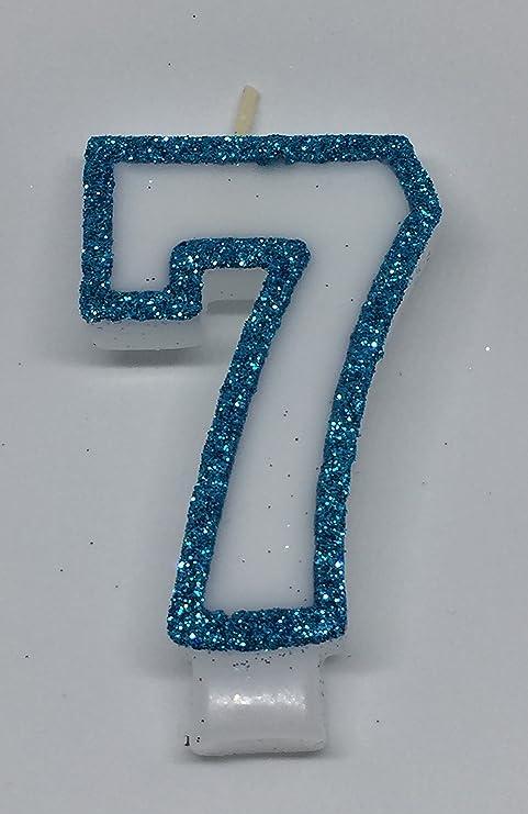 WasiWax - Vela de cumpleaños número 7, Color Azul: Amazon.es ...