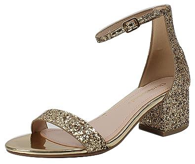88e356aa764b1 City Classified Women's Glitter Open Toe Ankle Strap Block Heel Sandal  (Gold, 8 B