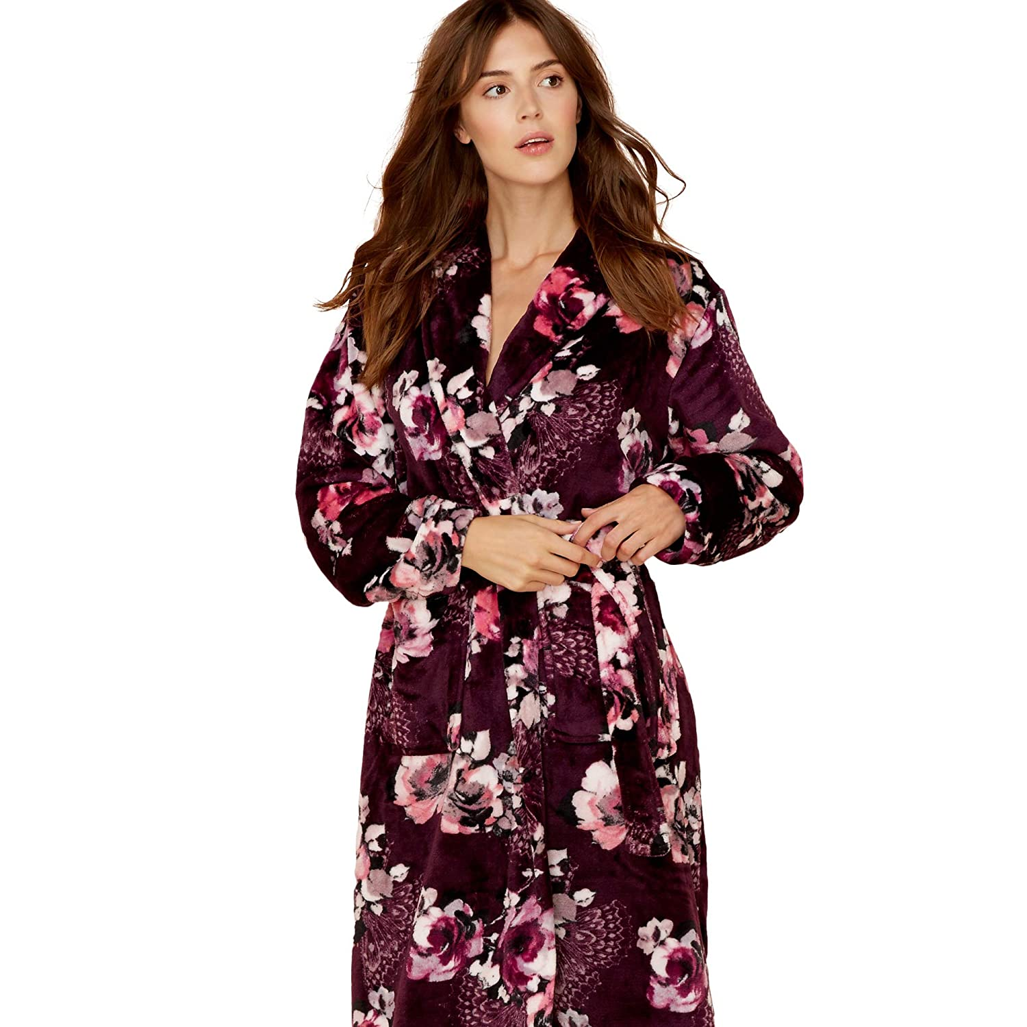 Lounge & Sleep Womens Purple Floral Print Fleece Dressing Gown