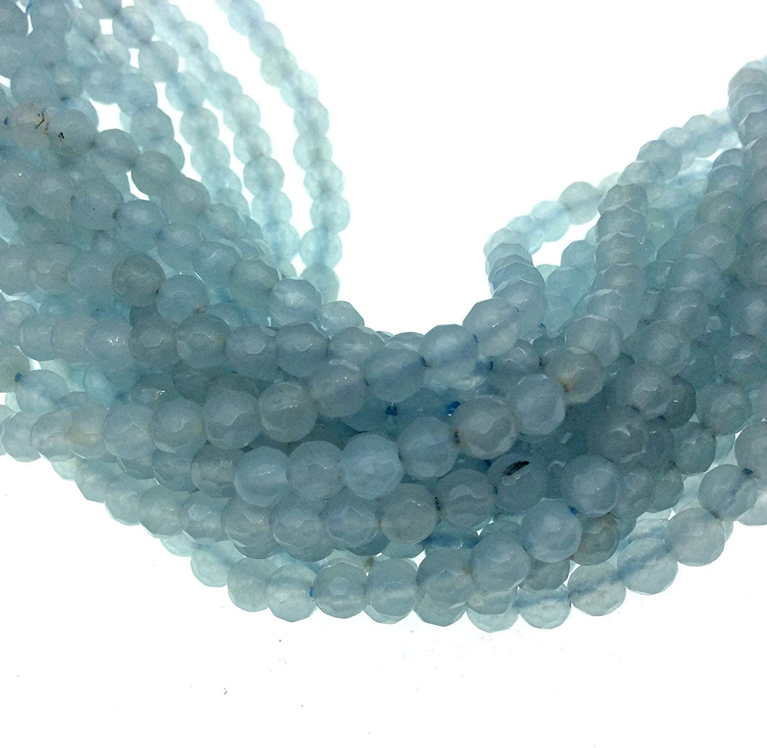 Aquamarine faceted 4MM round beads Aquamarine faceted balls beads for jewelry Prices per strand. 15/'inches strand