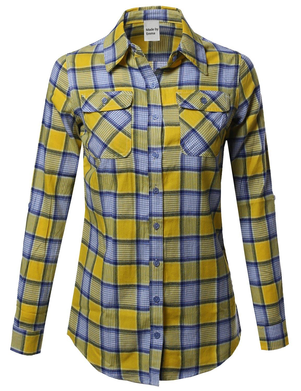 Made by Emma ボタンダウンシャツ レディース クラシック 軽量 格子縞 B01N5QFKO5 L|Fwtstl024 Yellow Blue Fwtstl024 Yellow Blue L