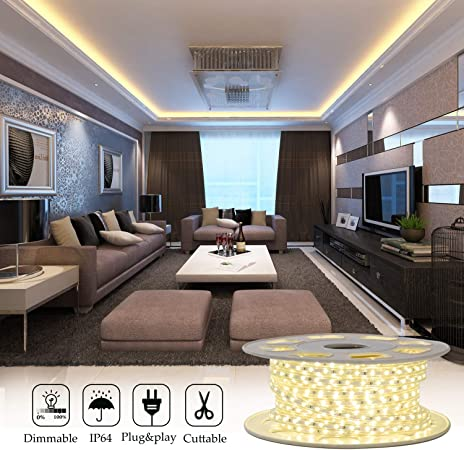 Shine Decor 7x10mm Led Strip Lights 110v Dimmable Flexible Waterproof Rope Lights 60leds M For Indoor Outdoor Ambient Commercial Lighting Decor