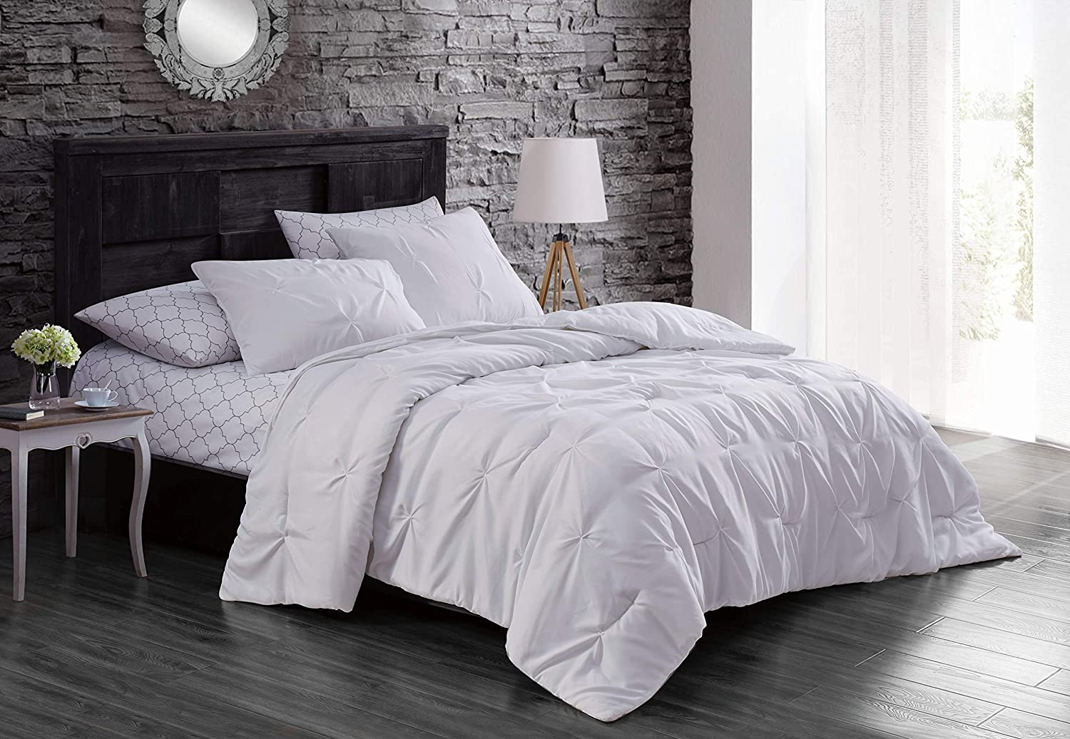 White Twin Geneva Home Fashion Flynn Bed in a Bag