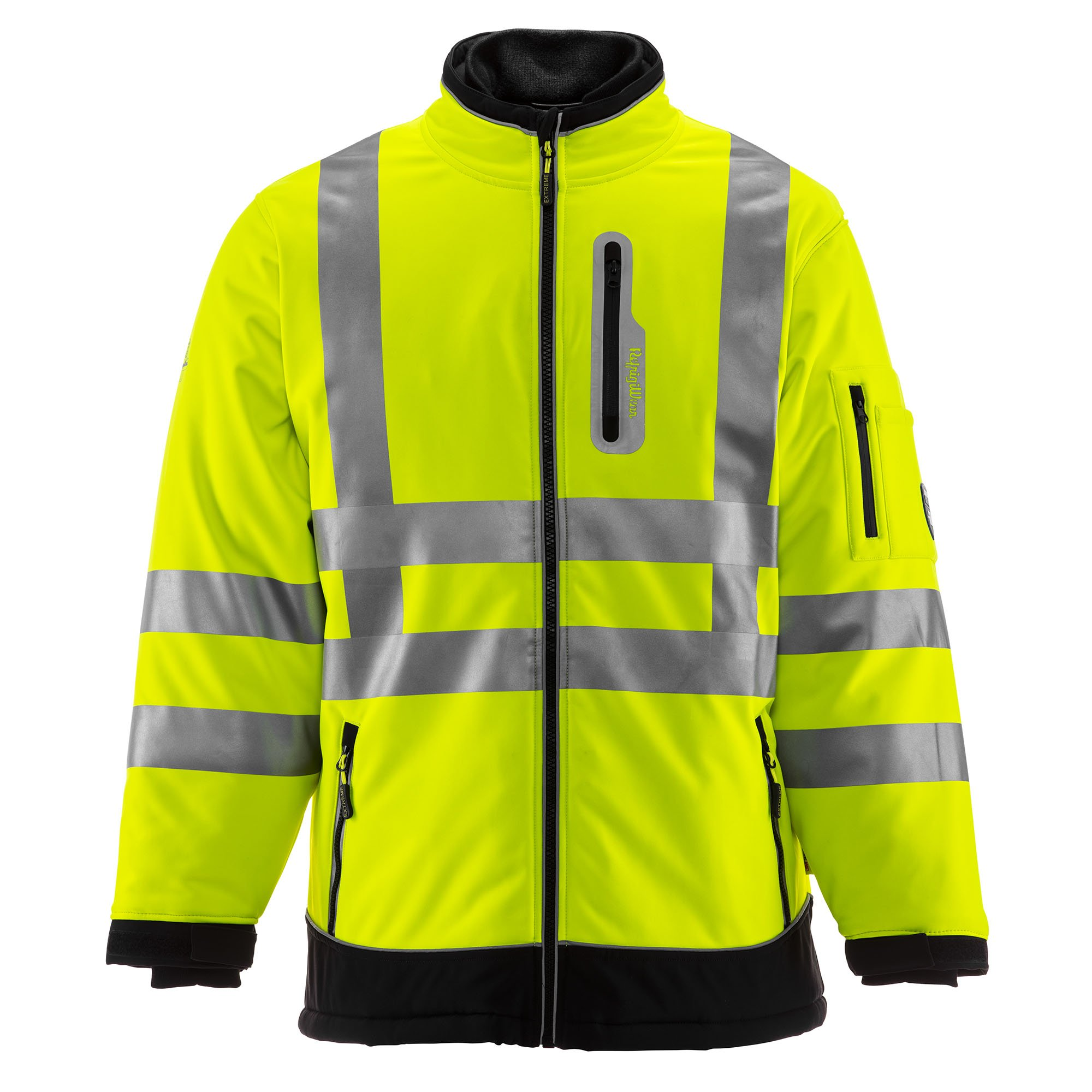 RefrigiWear Men's Hivis Extreme Softshell Jacket - ANSI Class 3 High Visibility Lime with Reflective Tape (Black/Lime, X-Large)