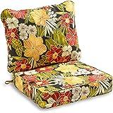 South Pine Porch AM7820-ALOHA-BLACK Aloha Black Floral 2-Piece Outdoor Deep Seat Cushion Set
