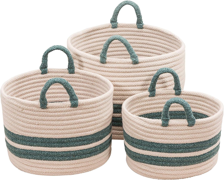Teal 18x14x14 Scott Living Coastal Line Basket