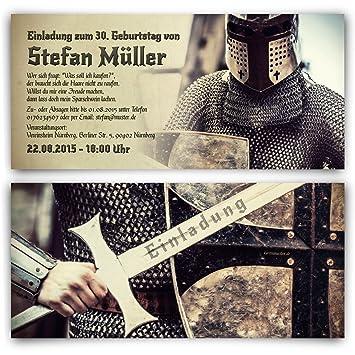 Einladungskarten Zum Geburtstag (10 Stück) Ritter Mittelalter Rüstung Schwert  Einladung