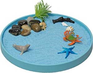 The Sea World Sandbox, a New Generation of Executive Mini Zen Garden Set, The Ocean Sea Life at Your Desktop, Perfect Relaxation and Meditation Gift, Calming Play Sand Box Toy for Kids, Boys and Girls