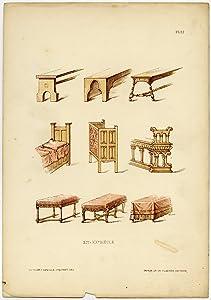 Antique Print-FURNITURE-CHURCH-PEW-BENCH-pl. 37-Deville Creuset-1850