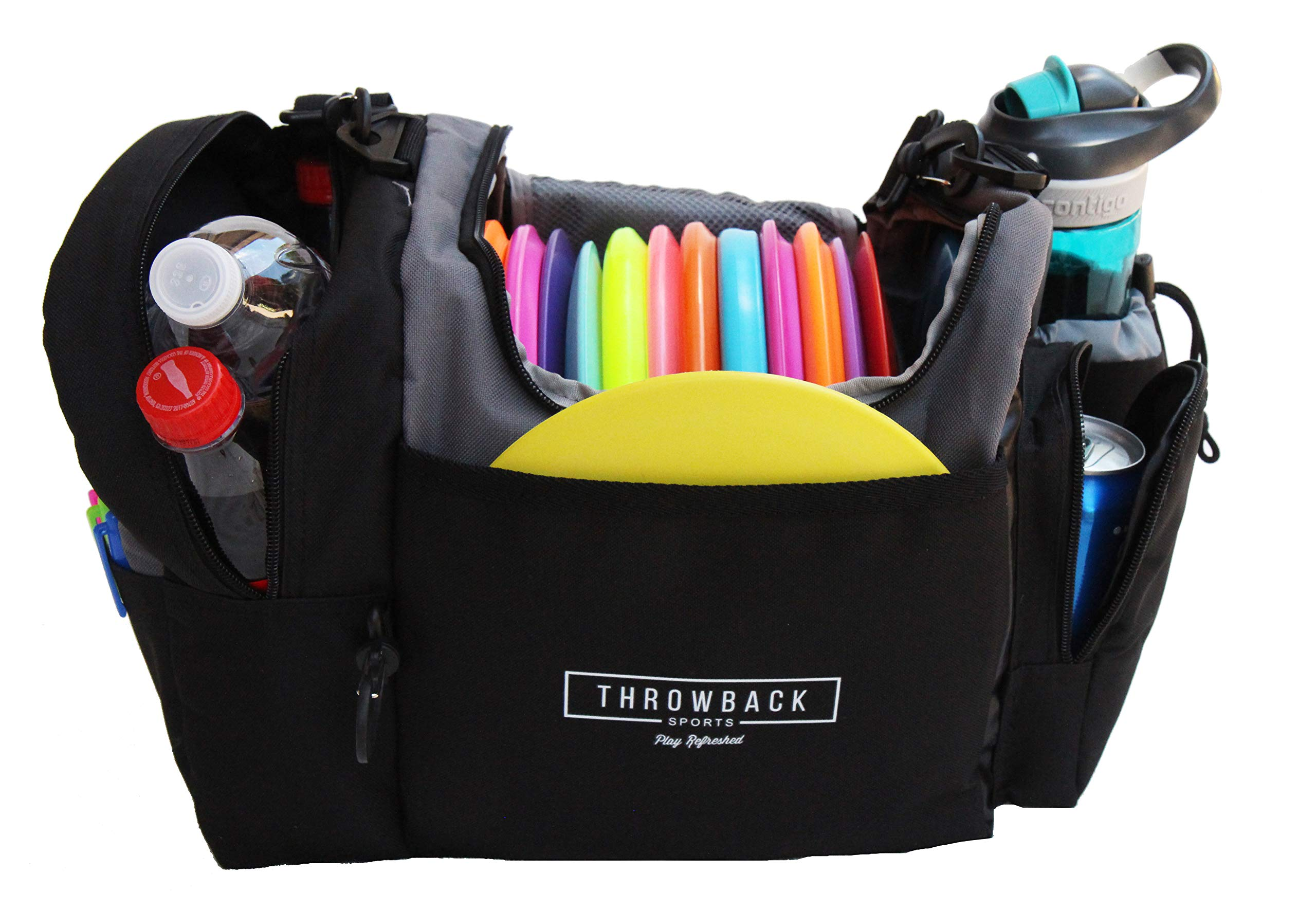The Throwback Sack - Frisbee Disc Golf Bag with Cooler and Extra Padding, Comfortable Strap - Holds 12-15 Discs and 6 Cold Drinks by Throwback Sports