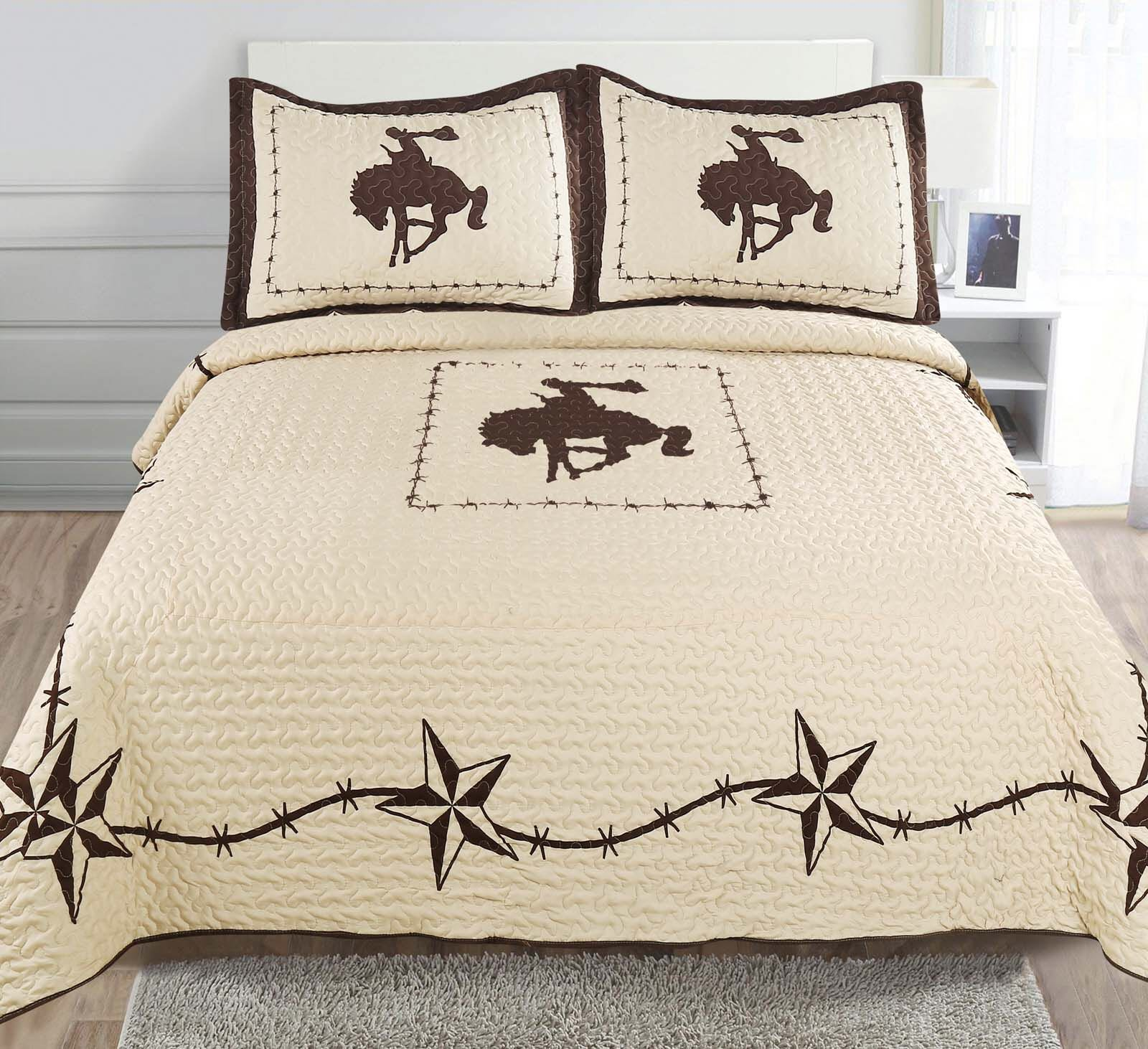 3-piece Printed Western Lone Star Barb Wire Cabin / Lodge Cowboy Horse Quilt Bedspread Coverlet Set (Full/ Queen, Rodeo -Beige)
