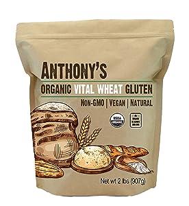 Anthony's Organic Vital Wheat Gluten, 2 lb, High in Protein, Vegan, Non GMO, Keto Friendly, Low Carb