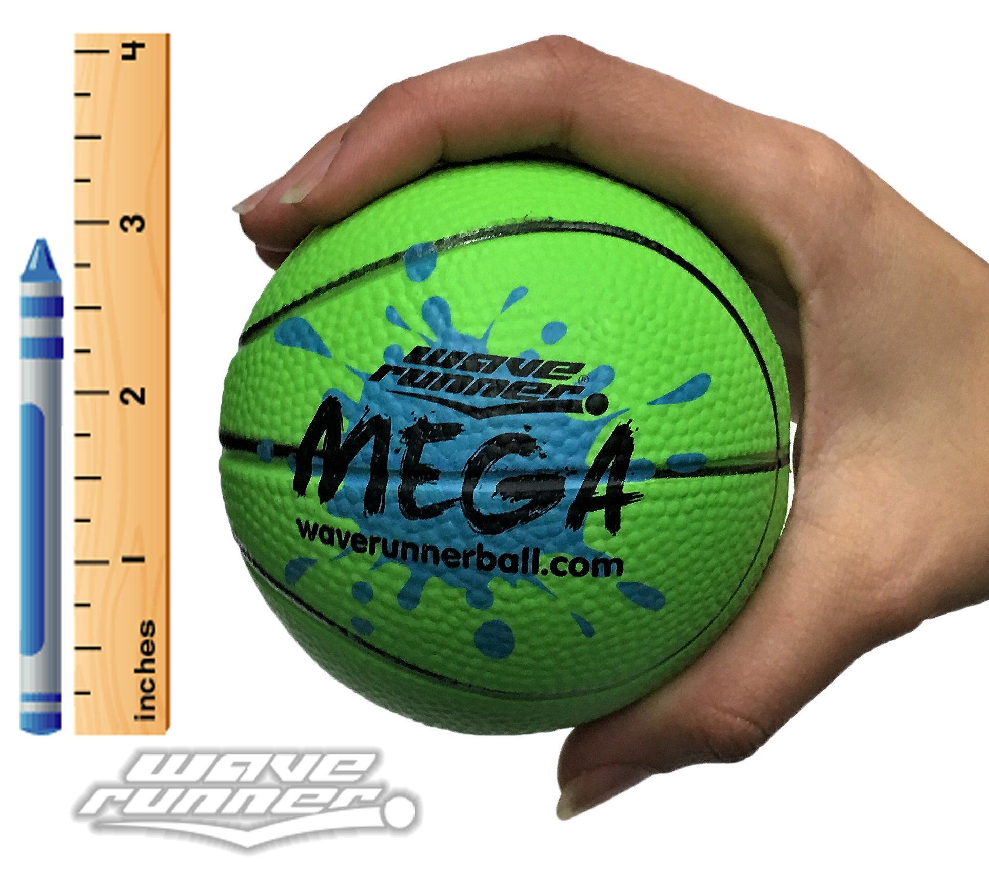 Wave Runner Mega Sports Miniature Basketball 3.5'' Waterproof Bouncing Ball for All Ages (Green)