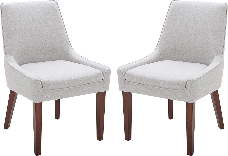 "Rivet Contemporary Welt-Trimmed Dining Chair, 35""H, Felt Gray, Set of 2"