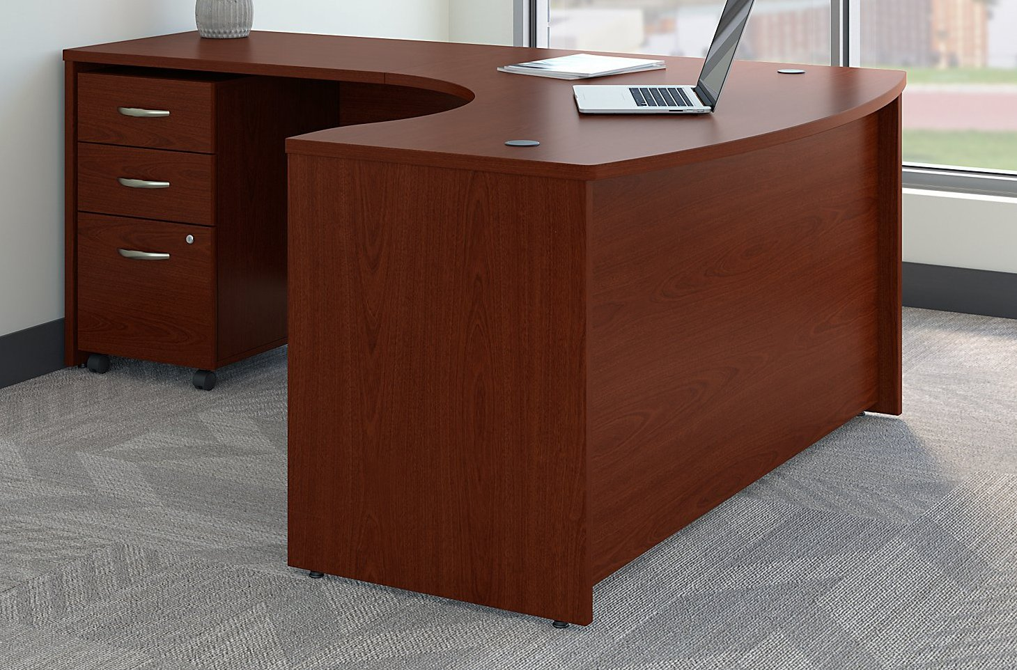 Bush Business Furniture Series C Left Handed L Shaped Desk with Mobile File Cabinet in Mahogany