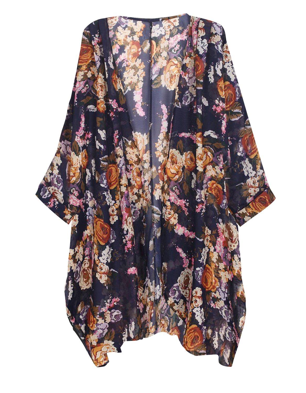 Tribear Women's Sheer Chiffon Kimono Cardigan Solid Casual Capes Beach Cover up (S, YellowFlower)