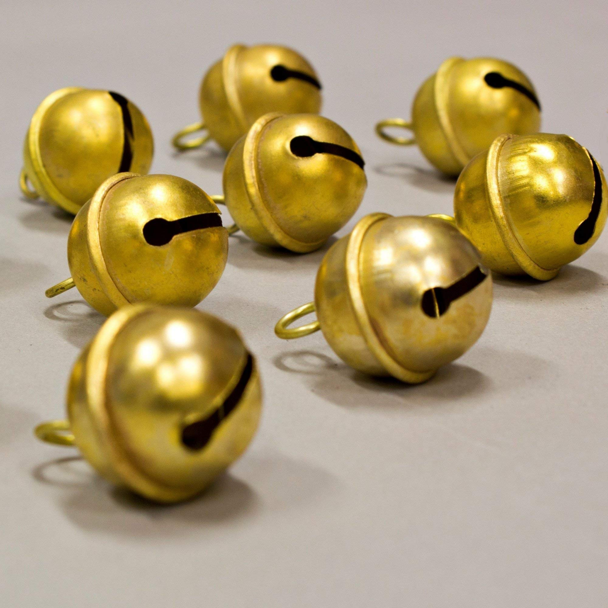 12 Pcs Jingle Bells Express Musical Rhythm Polar Sleigh Bells Polished Brass, for Door Knob, For Craft work, Anniversary Cattle Party Favors Wall Art Orchard Garden Art 1.25-inch High, Polished Brass by India Arts