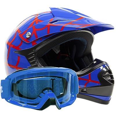 Kids Youth Offroad Gear Combo Helmet & Goggles DOT Motocross ATV Dirt Bike - Blue Spiderman - XL