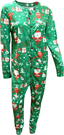 Santa Holiday Union Suit Pajama With Drop Seat for men (X-Small)