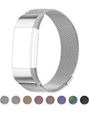 for Fitbit Charge 2 Bands, Milanese Loop Stainless Steel Bracelet Smart Watch Strap with Unique Magnet Lock for Fitbit Charge 2 Replacement Wristbands Large Small,Black,Rose Gold,Silver,Gold