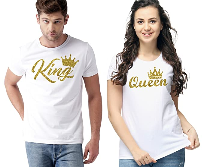1d6edf2ca WC RIGHT Mens & Womens Solid White King & Queen Graphic Golden Printed  Round Neck T-Shirt: Amazon.in: Clothing & Accessories