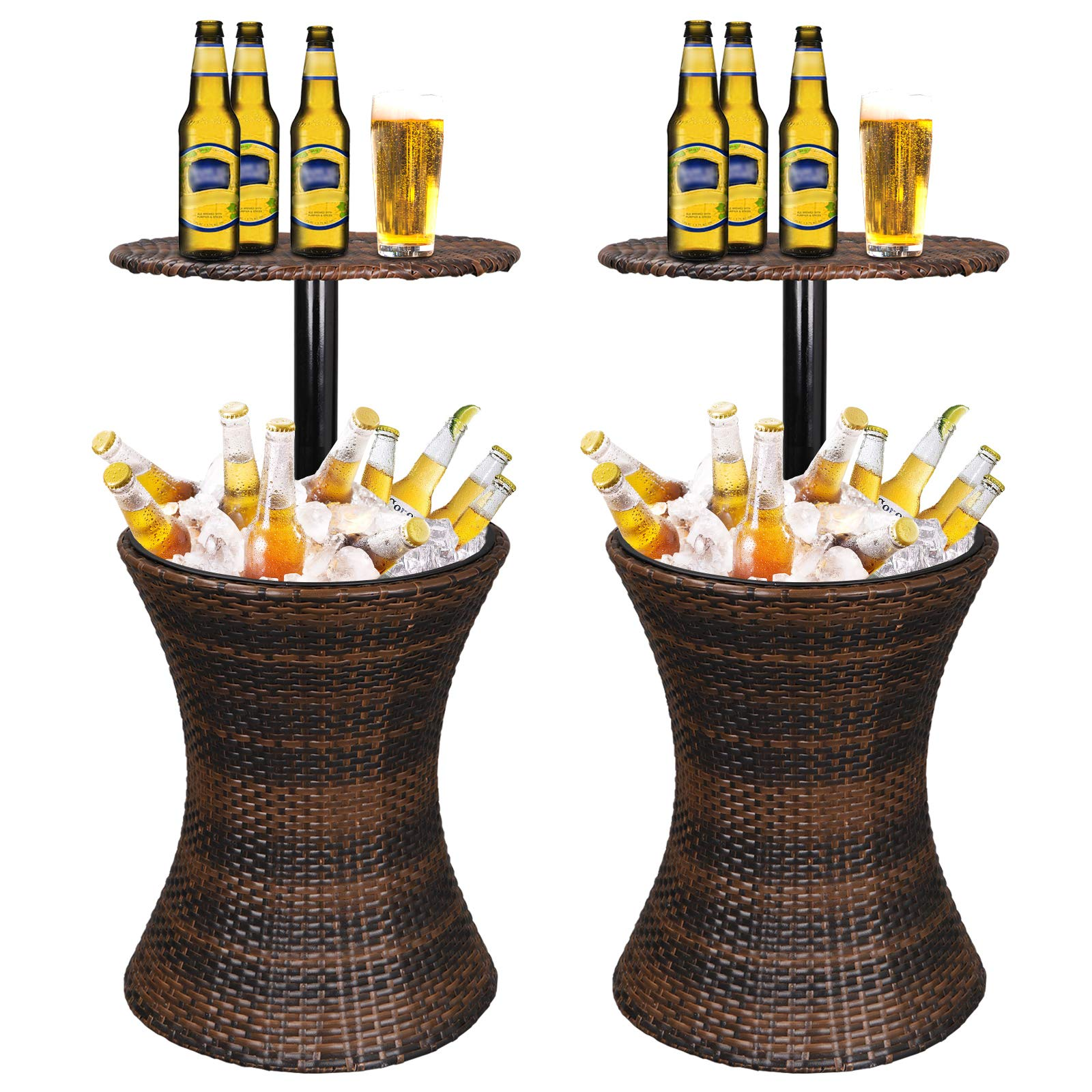 ZENY Cool Bar Rattan Style Patio Pool Cooler Table W/Height Adjustable Top Outdoor Wicker Ice Bucket Cocktail Coffee Table for Party Deck Pool Use, Set of 2