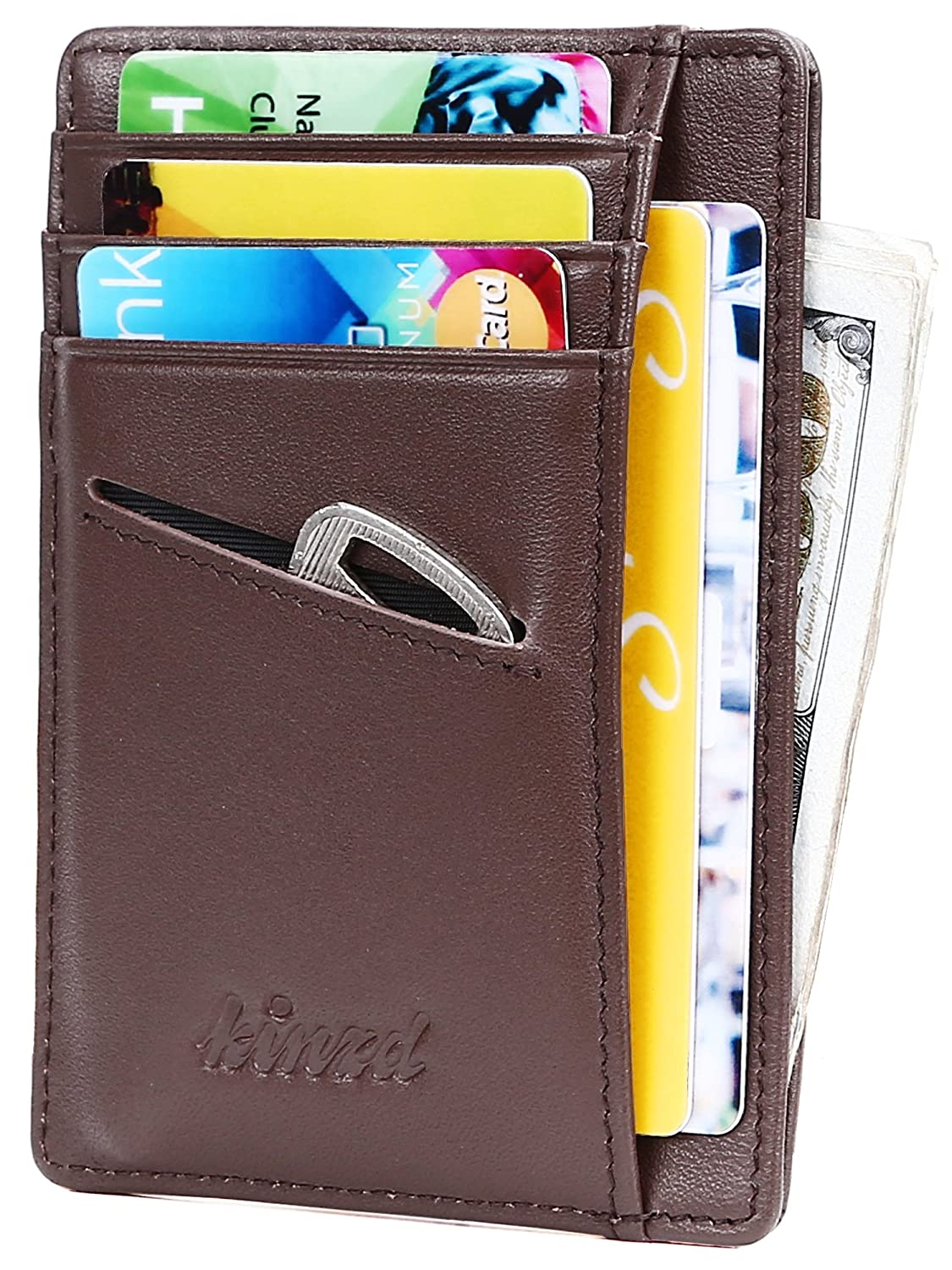 Slim Wallet RFID Front Pocket Wallet Minimalist Secure Thin Credit Card Holder (One Size, Z Double Side Crazy Dark Blue) AS200-E