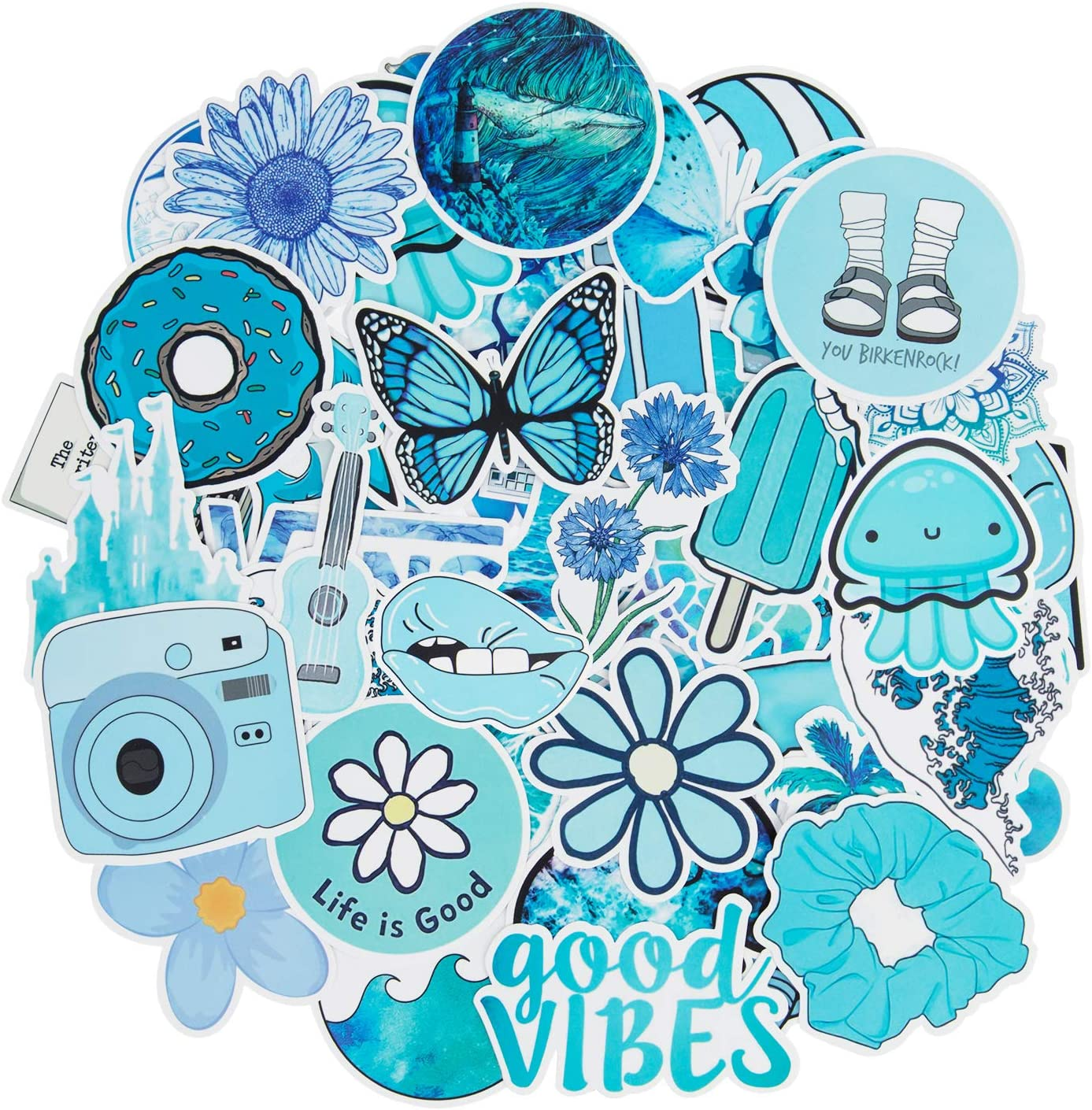 Blue VSCO Stickers for Water Bottles, 50 Pcs Hydro Flask Stickers Cute Stickers for Laptop Teen Girls Guitar Skateboard Stickers Decals