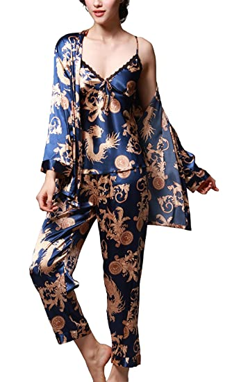 2140701181f47 Jusfitsu À Manches Longues Pyjama de Soie de Femme Sexy de Confort Trois- pièces