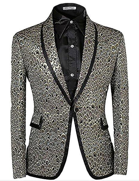 Hombres Escala Impresiones Center-Vent con un Solo botón de Solapa con Muescas Blazer Trajes Chaquetas y Pantalones Golden: Amazon.es: Ropa y accesorios