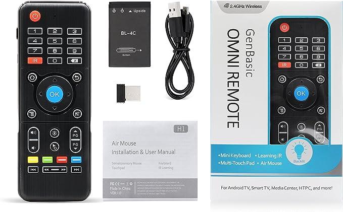 GenBasic Omni - Mando a Distancia con Mini Teclado y Panel táctil para Android TV, Smart TV, Raspberry Pi, Kodi Media Center, HTPC y PS4: Amazon.es: Electrónica