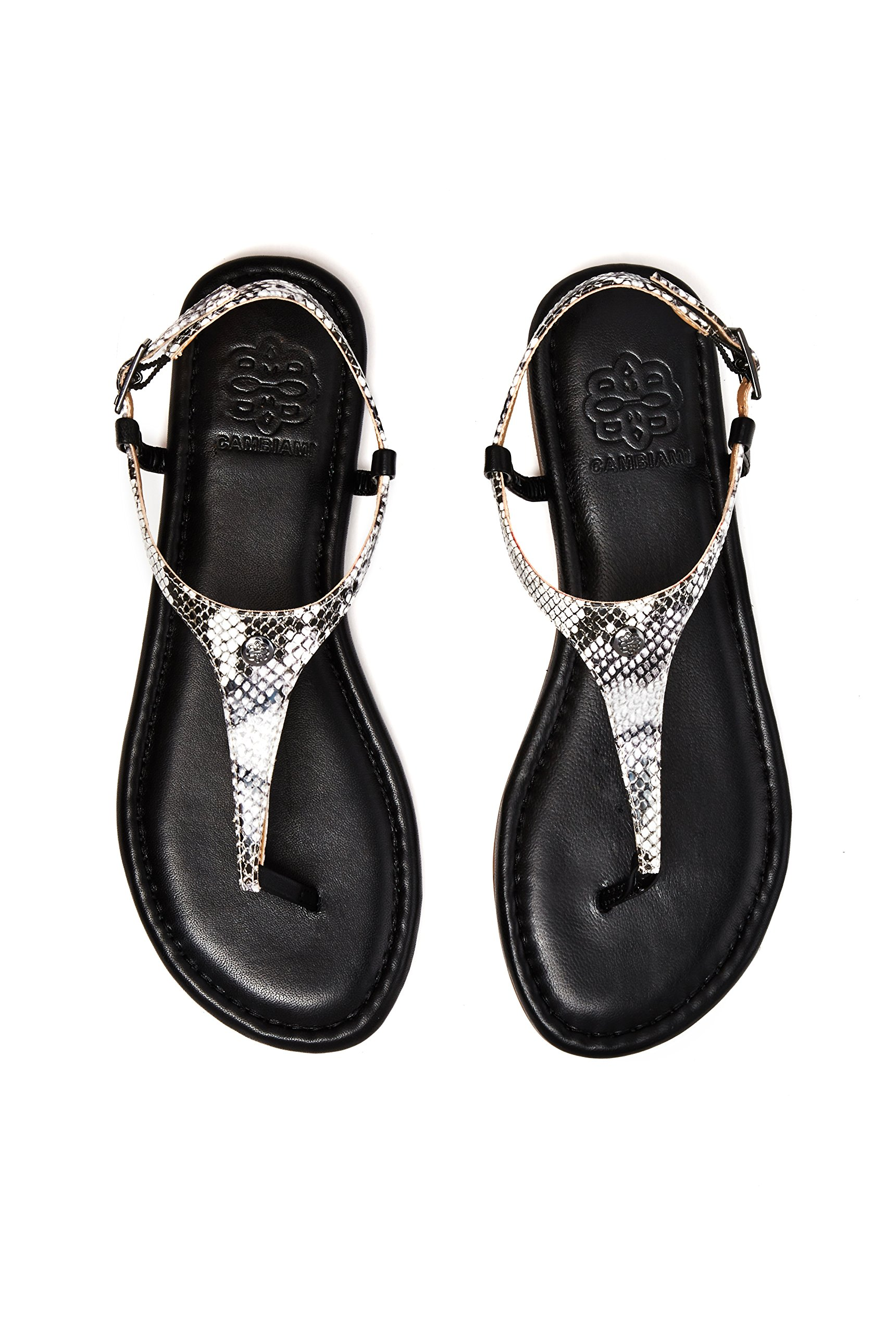 CAMBIAMI Black Leather T-Strap Slingback Flat Sandals - Includes Three Interchangeable Strap Sets (Black, Pewter, Snake Print) & Black Sole - Stylish & Comfortable - Women's Size 8 by CAMBIAMI (Image #7)