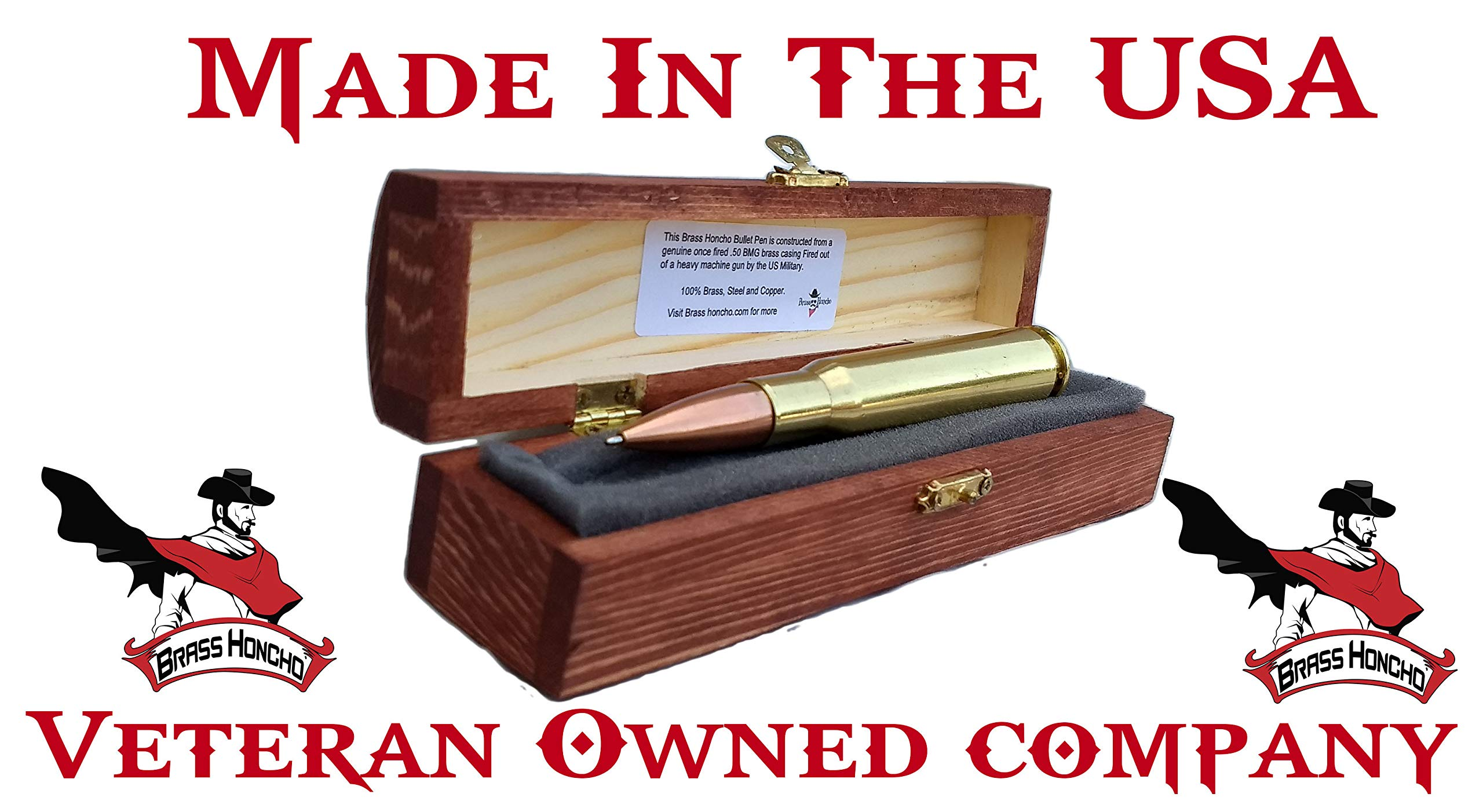 Anniversary Gifts For Men   50 Caliber Bullet Pen   Made In USA   Custom Engraved Personalized Box by Brass Honcho (Image #2)