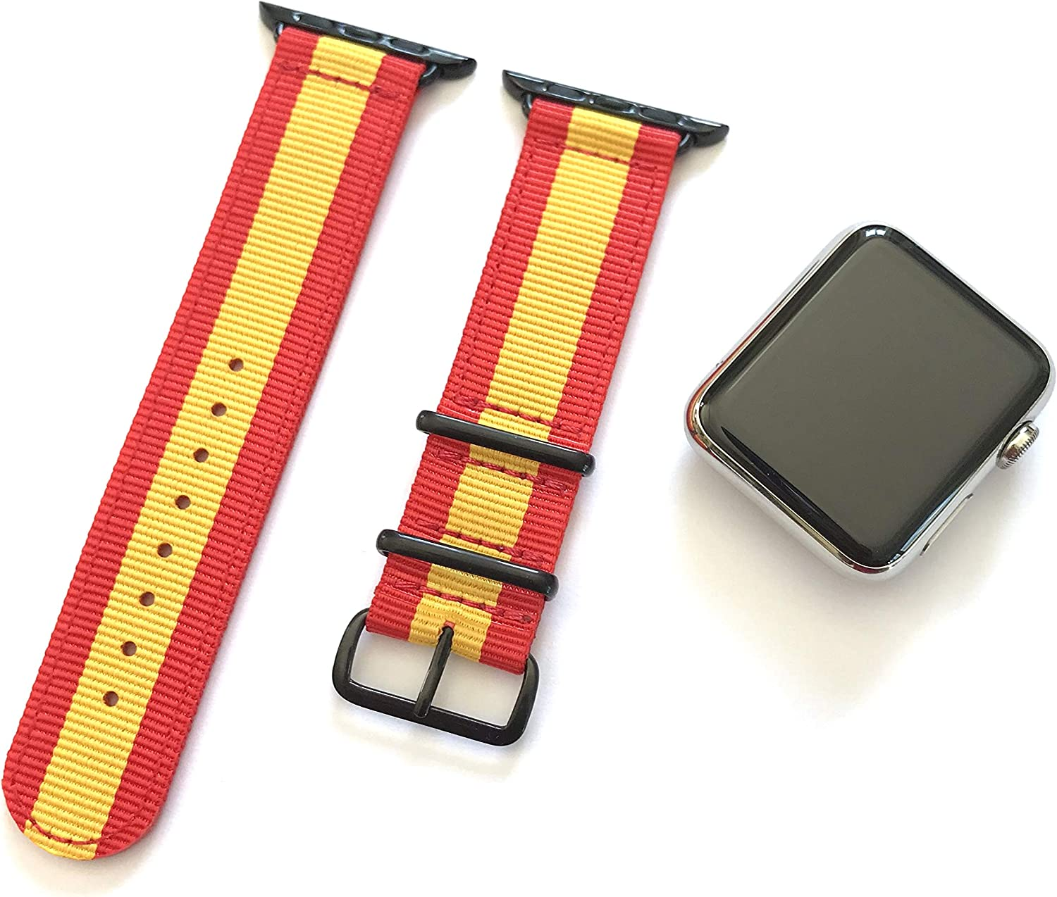 Correa para Apple Watch Nylon NATO Rojo Amarillo + adaptadores Color Plateado (42mm): Amazon.es: Electrónica