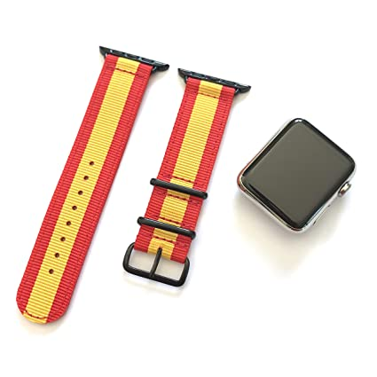 Correa para Apple Watch Nylon NATO Rojo Amarillo + adaptadores ...