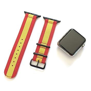 Correa para Apple Watch Nylon NATO Bandera Rojo Amarillo + ...