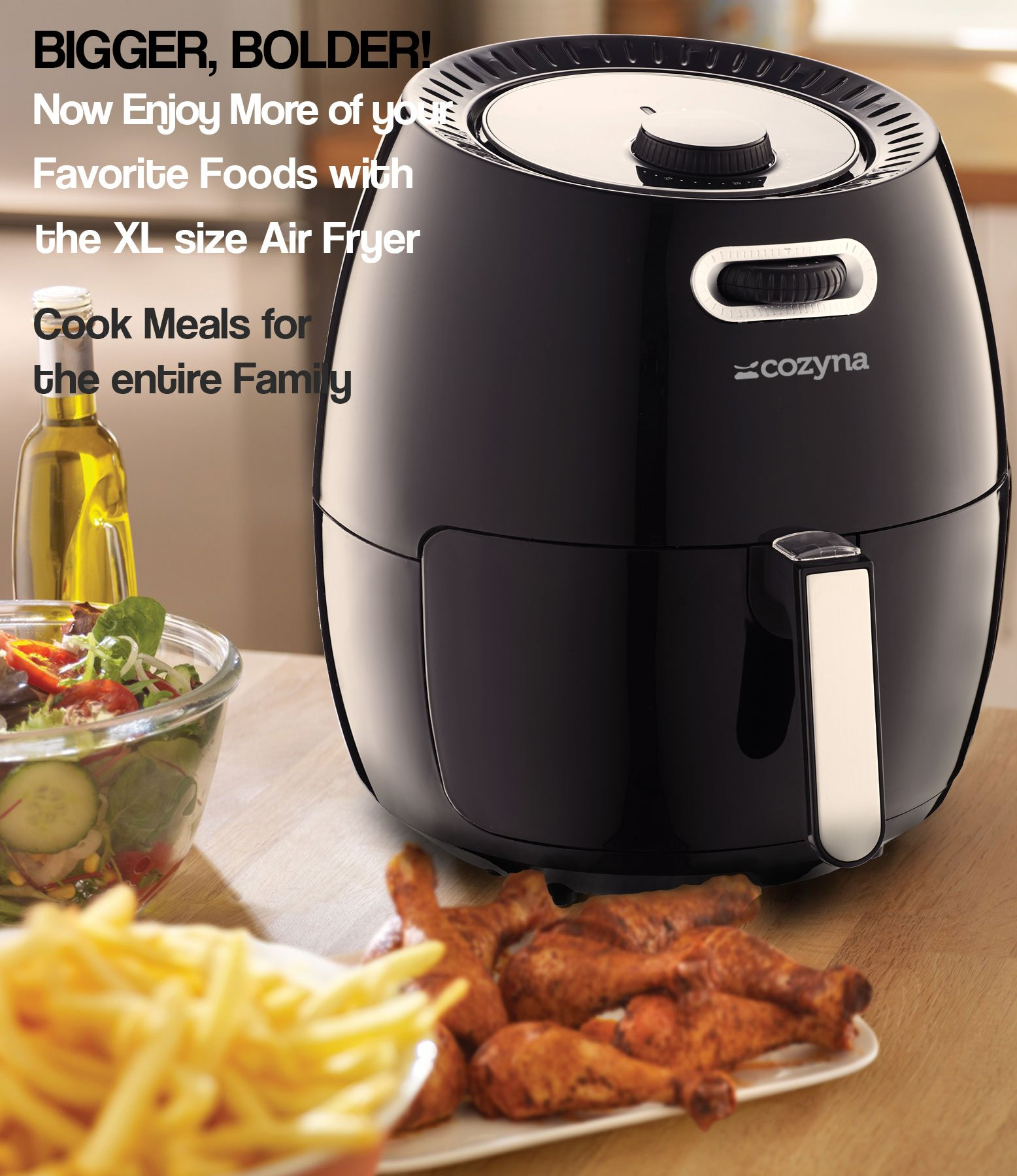 Air Fryer XL by Cozyna (5.8QT) with airfryer cookbook (over 50 recipes) and a basket divider by Cozyna (Image #2)