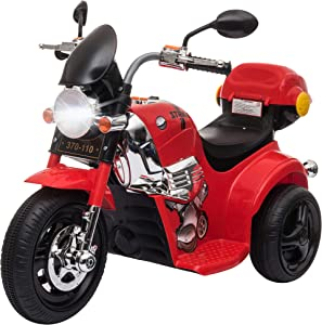 Aosom Ride-on Electric Motorcycle for Kids with Music & Horn Buttons, Stable 3-Wheel Design, & Rear Storage Space, Red