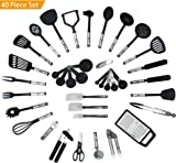 Essential 40 Piece Kitchen Utensil Cookware Set - Nylon & Stainless Steel tools, Includes Peeler, Spatulas, Garlic Crusher, Measuring Spoons & more