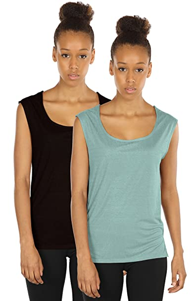 d3f34ba4 icyzone Yoga Tops Activewear Sleeveless Workout Running Shirts Flowy Tank  Tops for Women(S,